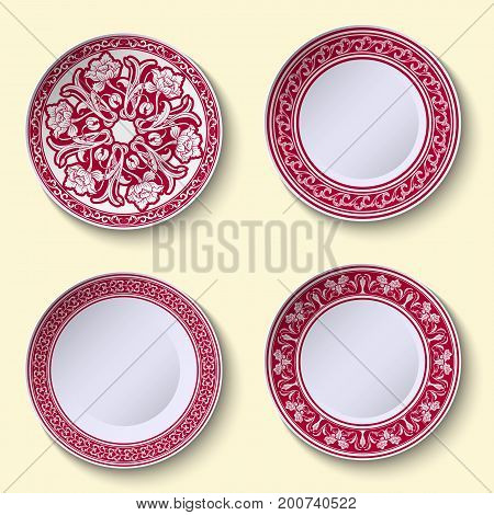Set of ornamental porcelain dishes with red ethnic pattern in the style of Chinese painting on porcelain. Vector illustration