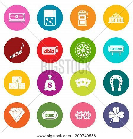 Casino icons many colors set isolated on white for digital marketing