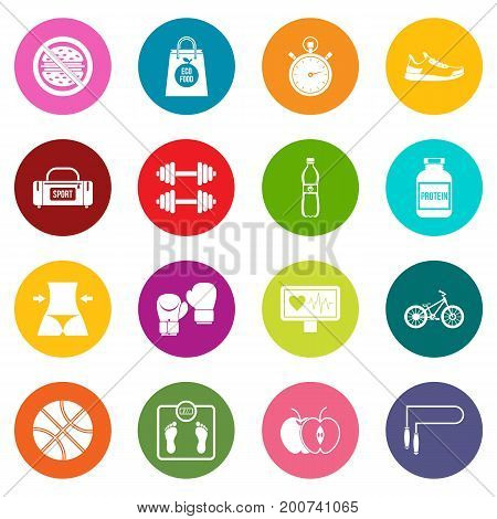 Healthy life icons many colors set isolated on white for digital marketing