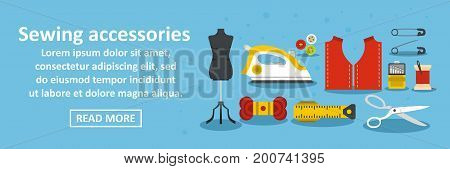 Sewing accessories banner horizontal concept. Flat illustration of sewing accessories banner horizontal vector concept for web