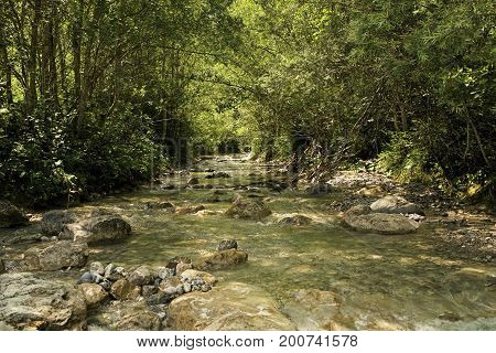 Mountain river in the Tyrolean Alps in drinking water quality