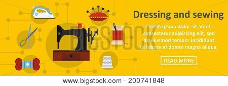 Dressing and sewing banner horizontal concept. Flat illustration of dressing and sewing banner horizontal vector concept for web