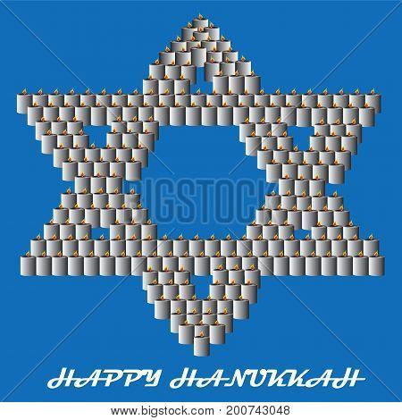 Happy Hanukkah Star of David Made of Lit Candles