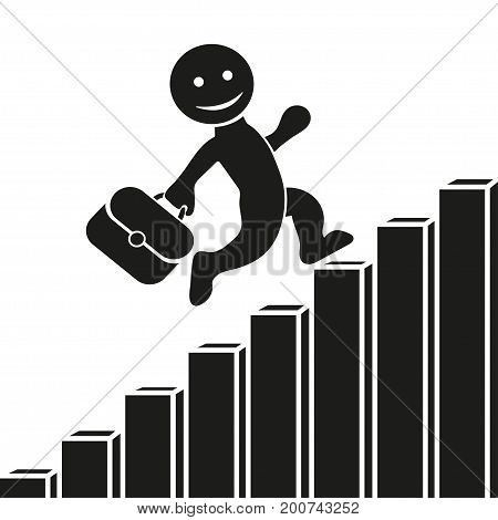 Vector Flat Icon With A Man Climbing Up The Corporate Ladder, Graph Growth And Development. Flat Des