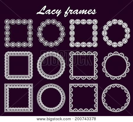 Set of openwork round and square borders paper doily under the cake template for cutting wedding invitation decorative plate is laser cut frame with lace edge. Vector illustration