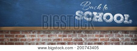 Back to school text over white background against blue wall over brick wall