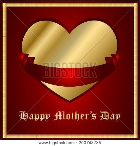 Mother's Day Gold Heart with a Red Ribbon