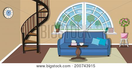 Modern cozy living room interior design with stairs to the second floor. Stylish furniture - sofa, table and large wide window. Flat style vector illustration.