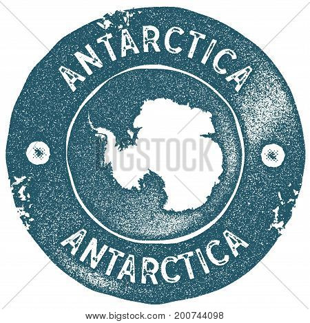 Antarctica Map Vintage Stamp. Retro Style Handmade Label. Antarctica Badge Or Element For Travel Sou