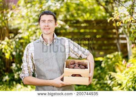 Agronomist with box of potatoes