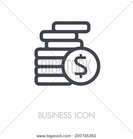 Coins stack outline vector illustration. Money stacked coins icon. Finances sign. Graph symbol for your web site design logo app UI. Vector illustration EPS10.