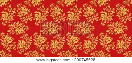 Classic khokhloma style decoration in red and gold colors. Russian national seamless pattern vector with floral decor elements. Hohloma ornament