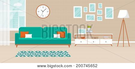 Vector banner with interior of the living room. Design of a cozy room with sofa floor lamp stand window and decor accessories. Vector illustration.