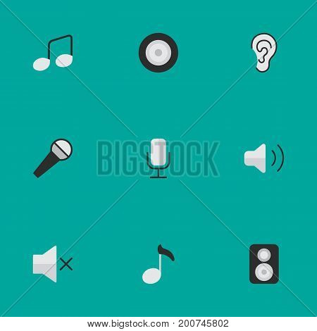 Elements Music Sign, Listen, Loudspeaker And Other Synonyms Amplifier, Sign And Loudspeaker.  Vector Illustration Set Of Simple Sound Icons.