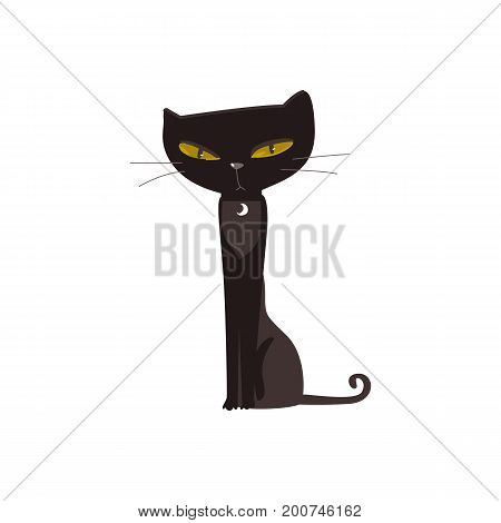 Spooky elegant black cat with big yellow eyes sitting straight, cartoon vector illustration isolated on white background. Cartoon style black cat, Halloween decoration element