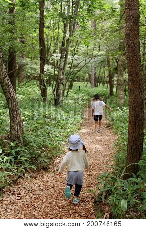 Japanese Brother And Sister On A Hike (7 Years Old Boy And 2 Years Old Girl)