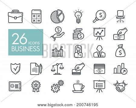Business and finance web outline icon set. Graph symbol for your web site design logo app UI. Vector illustration EPS10.