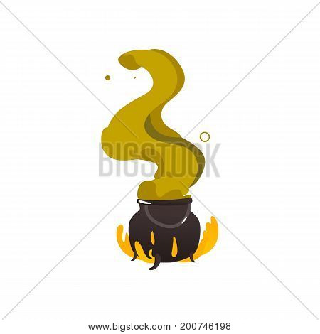 Halloween caldron, cauldron on fire with plumb of green steam going up, cartoon vector illustration isolated on white background. Cartoon style Halloween caldron on fire with green steam raising up