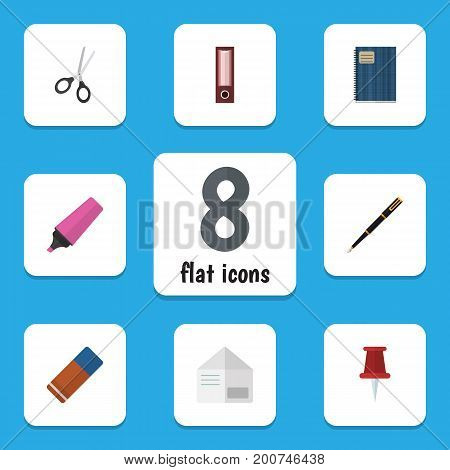 Flat Icon Equipment Set Of Copybook, Marker, Pushpin And Other Vector Objects