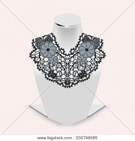 Stand dummy for demonstration of ornaments with lace flower element. Black tracery pattern on realistic white mannequin. Vector Illustration