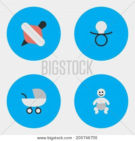 Elements Child, Stroller, Nipple And Other Synonyms Child, Toy And Nipple.  Vector Illustration Set Of Simple Child Icons.