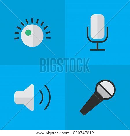 Elements Regulator, Loudness, Mike And Other Synonyms Amplifier, Microphone And Sound.  Vector Illustration Set Of Simple Melody Icons.