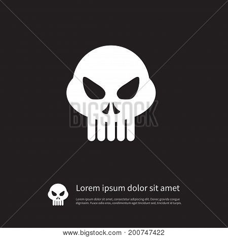 Head Vector Element Can Be Used For Skull, Skeleton, Head Design Concept.  Isolated Skeleton Icon.