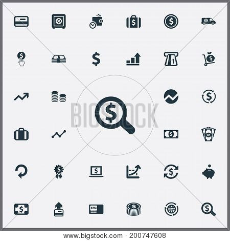 Elements Select, Interest, Currency And Other Synonyms Forex, Portfolio And Truck.  Vector Illustration Set Of Simple Banking Icons.