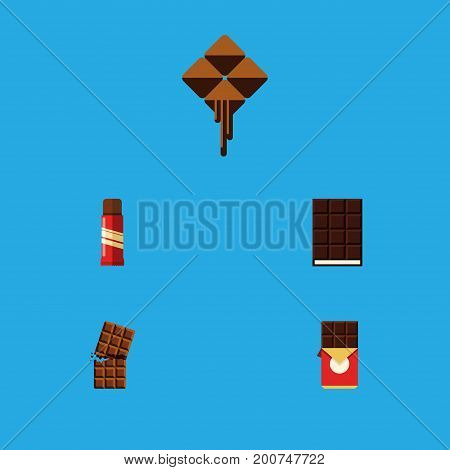 Flat Icon Cacao Set Of Chocolate Bar, Wrapper, Delicious And Other Vector Objects