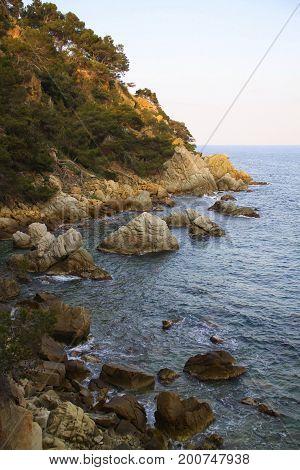 Lloret de Mar sunset rocks, Spanish landscape