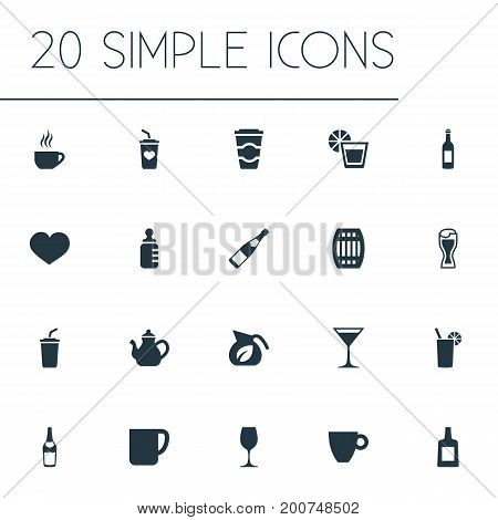 Elements Lager, Mug, Brandy Synonyms Barrel, Tumbler And Herbal.  Vector Illustration Set Of Simple Water Icons.
