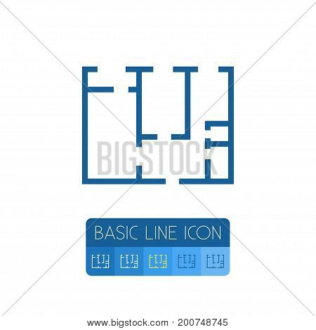 Plan Vector Element Can Be Used For Blueprint, Plan, Project Design Concept.  Isolated Blueprint Outline.