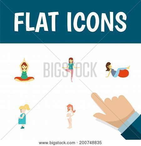 Flat Icon Pregnancy Set Of Sport, Yoga, Pregnancy And Other Vector Objects