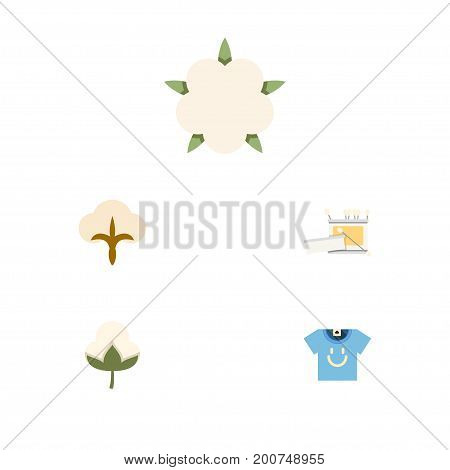 Flat Icon Fiber Set Of Fluffy, Knitting, Cotton And Other Vector Objects