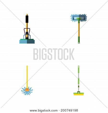 Flat Icon Broomstick Set Of Besom, Broomstick, Broom And Other Vector Objects