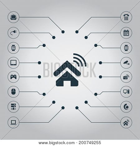 Elements Date Block, Smart House, Touchpad And Other Synonyms Device, Plug And Almanac.  Vector Illustration Set Of Simple Internet Icons.