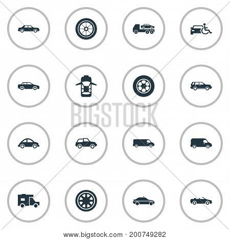 Elements Siren, Transit, Driving And Other Synonyms Track, Truck And Trucking.  Vector Illustration Set Of Simple Auto Icons.