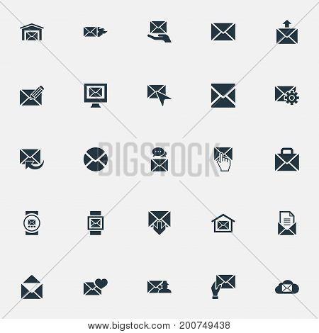 Elements Envelope, Cursor, Letter And Other Synonyms Web, Send And Valentine.  Vector Illustration Set Of Simple Mail Icons.