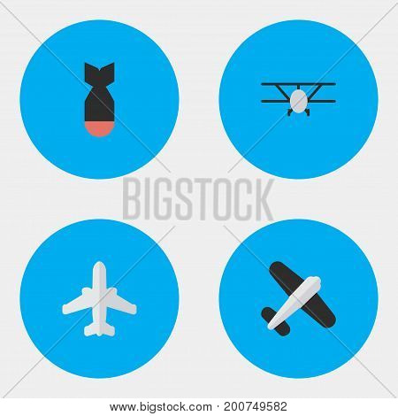 Elements Rocket, Aviation, Airliner And Other Synonyms Rocket, Airliner And Aircraft.  Vector Illustration Set Of Simple Airplane Icons.