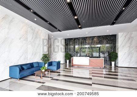 interior of entrance hall in modern office building