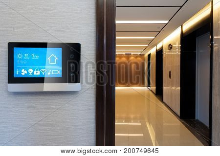 smart screen on wall in modern corridor