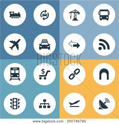 Elements Construction Crane, Auto Service, Retro Locomotive And Other Synonyms Rail, Locomotive And Opposite.  Vector Illustration Set Of Simple City Icons.