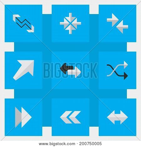Elements Forward, Southwestward, Back And Other Synonyms Backward, Next And Alert.  Vector Illustration Set Of Simple Arrows Icons.
