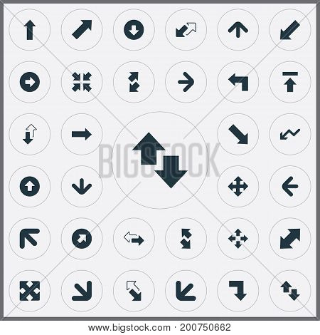 Elements Upward Direction, Downwards Pointing, Upward Direction And Other Synonyms Four Directions Arrows, Right And Downwards.  Vector Illustration Set Of Simple Cursor Icons.