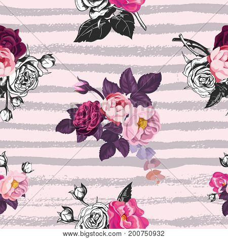 Beautiful seamless pattern with half-colored bunches of wild rose flowers against pink background with gray horizontal paint traces. Vector illustration for wrapping paper, wallpaper, textile print