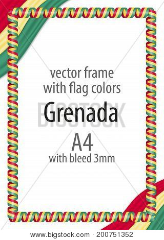 Frame And Border Of Ribbon With The Colors Of The Grenada Flag