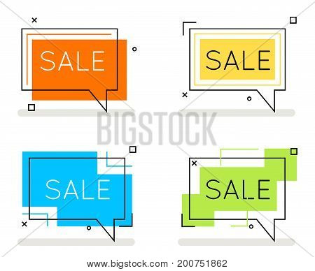 Abstract line art sale banner card set element isolated flat design concept vector illustration