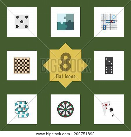 Flat Icon Play Set Of Jigsaw, Backgammon, Arrow And Other Vector Objects