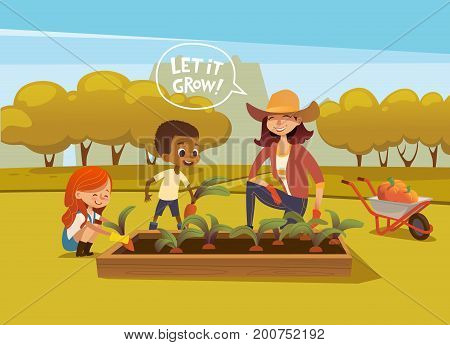 Smiling multiracial children and female agricultural worker in rubber boots and gloves harvesting vegetables in autumn garden. Concept of gardening for kids. Vector illustration for banner, poster