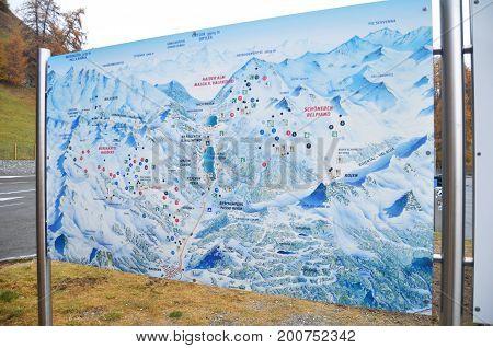 Map Of Skiparadise Nauders In Countryside At Bolzano Or Bozen, Italy